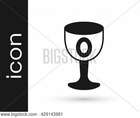Black Medieval Goblet Icon Isolated On White Background. Holy Grail. Vector