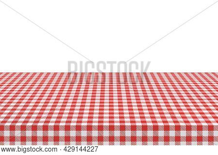 The Picnic Table Is Covered With A Checkered Tablecloth. White Red Gingham Textile. Clean Surface Wi