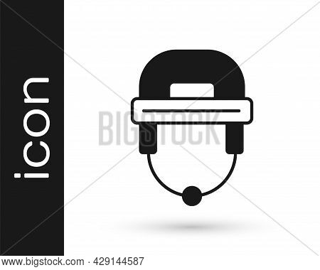 Black Hockey Helmet Icon Isolated On White Background. Vector