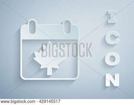 Paper Cut Canada Day With Maple Leaf Icon Isolated On Grey Background. 1-th Of July Independence Day