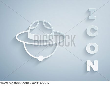 Paper Cut Canadian Ranger Hat Uniform Icon Isolated On Grey Background. Paper Art Style. Vector