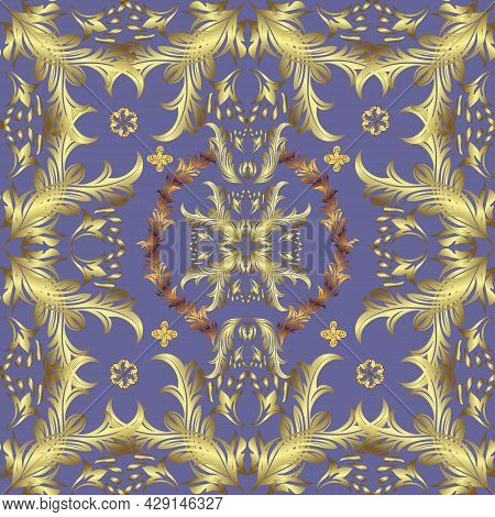 Traditional Orient Ornament. Seamless Classic Vector Yellow, Violet And Neutral And Golden Pattern.