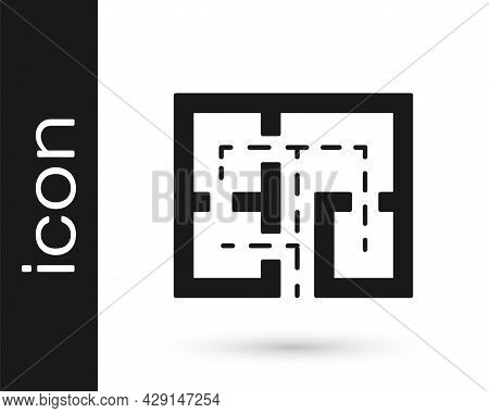 Black Evacuation Plan Icon Isolated On White Background. Fire Escape Plan. Vector