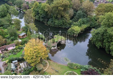 Warwick, Great Britain - September 15, 2014: These Are The Ruined Remains Of The Old Castle Bridge,