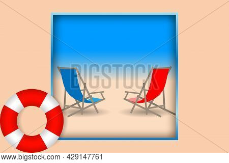 Red And Blue Beach Chairs On The Sandy Beach And Color Lifebuoy. Seascape With Layering Effect