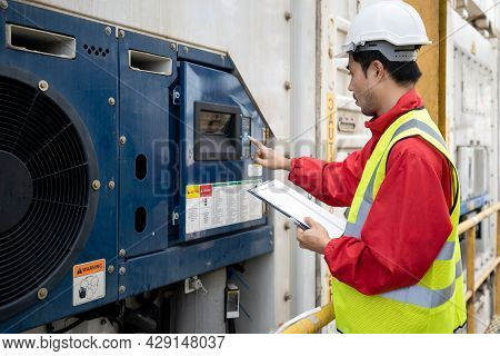 Asian Technician Engineer Inspection Control Machine In Factory