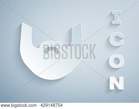 Paper Cut Mustache And Beard Icon Isolated On Grey Background. Barbershop Symbol. Facial Hair Style.
