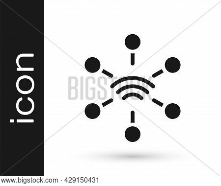 Black Network Icon Isolated On White Background. Global Network Connection. Global Technology Or Soc