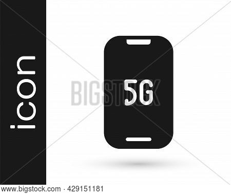 Black Mobile With 5g New Wireless Internet Wifi Icon Isolated On White Background. Global Network Hi