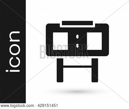 Black Sport Mechanical Scoreboard And Result Display Icon Isolated On White Background. Vector