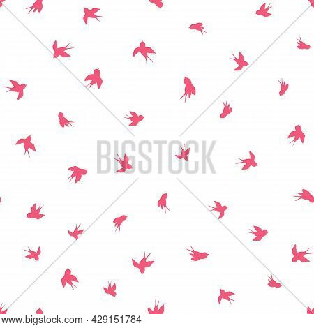 Seamless Pattern With Pink Swallow Silhouette On White Background. Cute Bird In Flight. Vector Illus