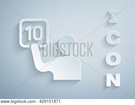 Paper Cut Assessment Of Judges Icon Isolated On Grey Background. Paper Art Style. Vector