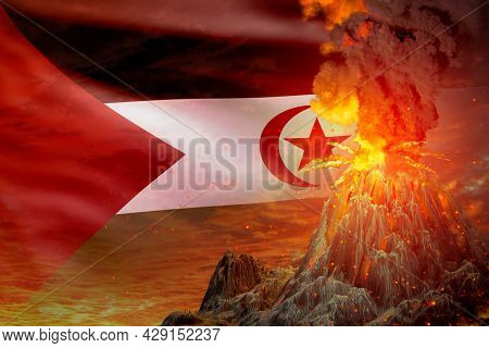 Conical Volcano Blast Eruption At Night With Explosion On Western Sahara Flag Background, Problems O
