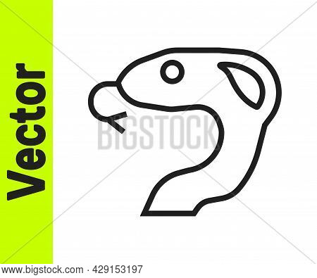 Black Line Snake Icon Isolated On White Background. Vector