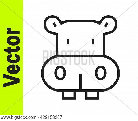 Black Line Hippo Or Hippopotamus Icon Isolated On White Background. Animal Symbol. Vector