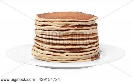 Stack Of Hot Tasty Pancakes On White Background
