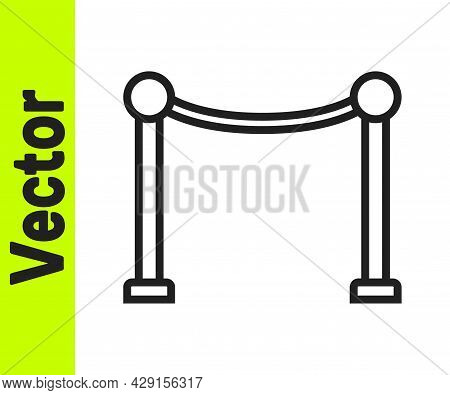 Black Line Rope Barrier Icon Isolated On White Background. Vip Event, Luxury Celebration. Celebrity