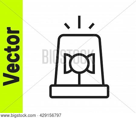 Black Line Flasher Siren Icon Isolated On White Background. Emergency Flashing Siren. Vector