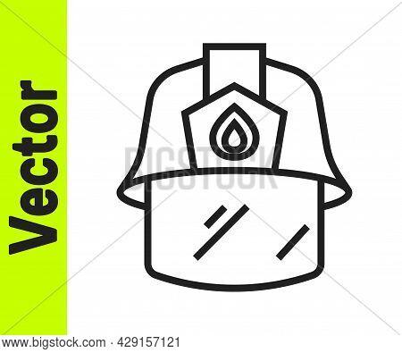 Black Line Firefighter Helmet Or Fireman Hat Icon Isolated On White Background. Vector