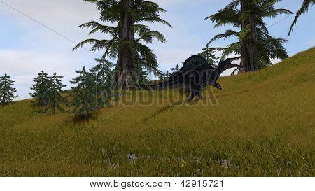 spinosaurus in grassland