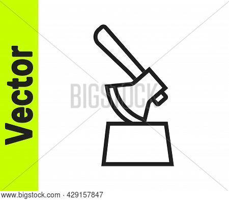 Black Line Wooden Axe In Stump Icon Isolated On White Background. Lumberjack Axe. Axe Stuck In Wood.