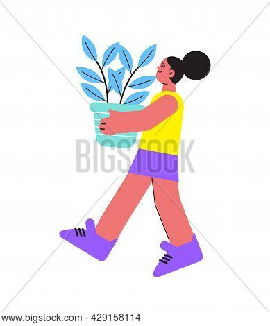 Floristry Icon With Female Character Of Woman Carrying Plant In Pot Flat Vector Illustration