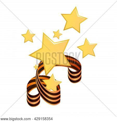 Composition Of Gold Stars Entwined With A St. George Ribbon To Decorate The Victory Day In Russia. V