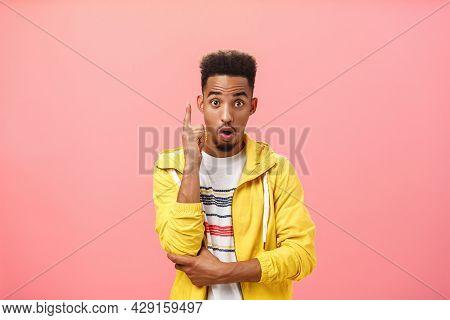 Got It Finally Understood. Portrait Of Excited Smart Dark-skinned Creative Male With Beard In Trendy