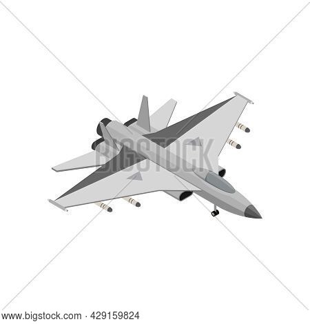 Military Air Forces Isometric Icon With Mikoyan Mig 29 Vector Illustration