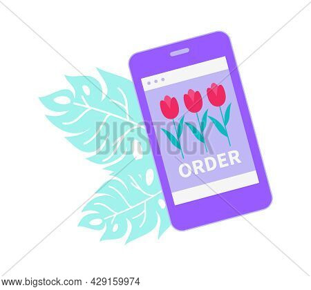 Floristry Flat Icon With Flower Shop Order And Green Leaves Vector Illustration