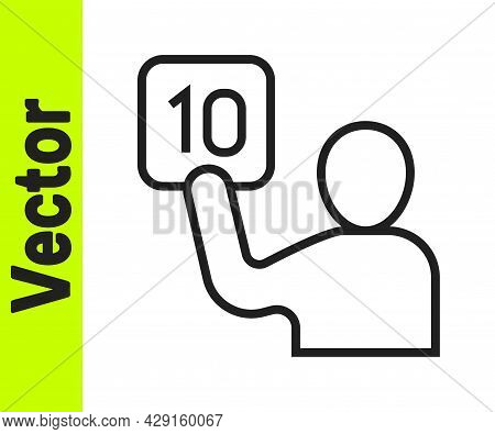 Black Line Assessment Of Judges Icon Isolated On White Background. Vector