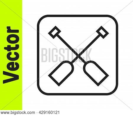 Black Line Paddle Icon Isolated On White Background. Paddle Boat Oars. Vector