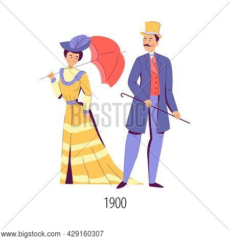 Man And Woman Dressed In Fashion Of Beginning Of Twentieth Century Flat Isolated Vector Illustration