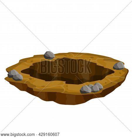 Big Hole In Ground. Element Of Desert Landscape. Cartoon Illustration. Brown Dry Soil And Mine