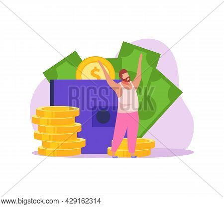 Crowdfunding Flat Icon With Happy Character Collecting Money Vector Illustration