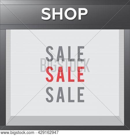 Shop With Empty Display. Store Window Display Vector