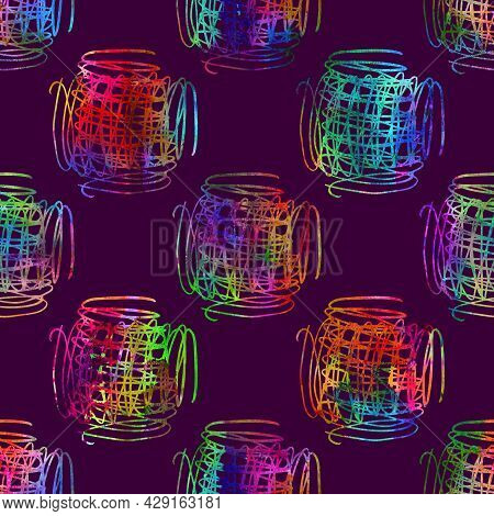 Brush Stroke Plaid Geometric Grung Pattern Seamless In Rainbow Color Check Background. Gunge Collage