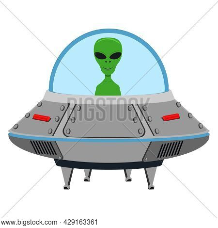 An Alien In A Spaceship. Vector Illustration On A White Background.