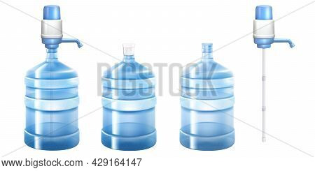 Pump Water Cooler And Big Bottle For Office And Home. Vector 3d Realistic Mockup Of Dispenser With P