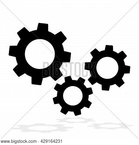 Three Gear Sign Icon , Settings Icon, Gears Mechanism Pictogram, Isolated On White Background