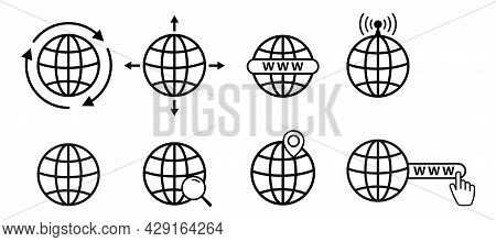 A Set Of Www Icons With A Globe, Vector Website Icons. The Internet Icon. The Icon In The Www Search