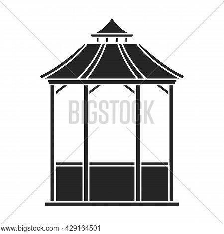 Wooden Gazebo Of Pergola Vector Icon.black Vector Icon Isolated On White Background Wooden Gazebo Of