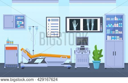 Medical Therapy Hospital Healthcare Equipment Room Interior. Intensive Therapy Room, Clinic Equipmen