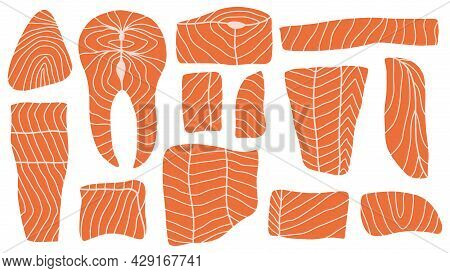 Traditional Asian Cuisine Salmon Slices Sushi Ingredients. Hand Drawn Salmon Pieces, Delicious Fish