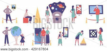 Museum, Art Gallery And Planetarium Exhibition Excursion Visitors. Gallery Painting Artwork And Hist