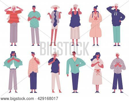 Disagree People Negative Rejection Gesture Signs Expressions. Sign Language Disagree Characters Vect