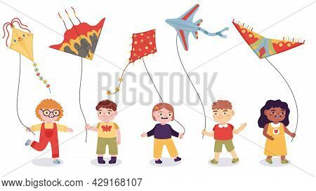 Cartoon Kids Playing With Paper Flying Kites Toys. Boys And Girls Summer Outdoor Activity Vector Ill
