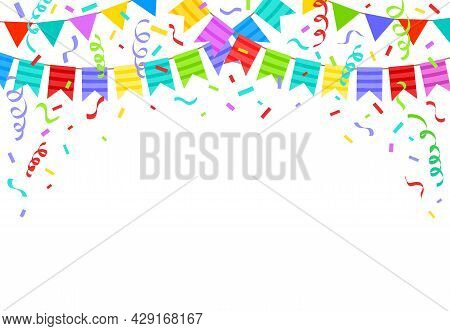 Birthday Bunting Flags, Ribbons And Confetti Festive Background. Cartoon Holiday Party Celebration D