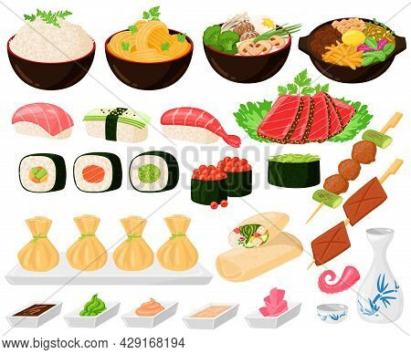 Cartoon Asian Traditional Korean, Japanese, Chinese Food. Asian Street Food, Noodles Sushi Sashimi R