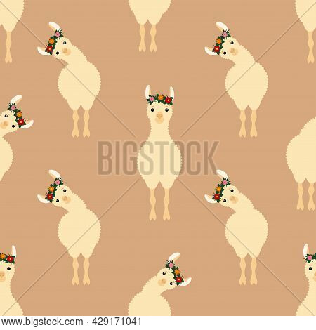 Cute Lama Seamless Pattern. Design Sketch Element For Textile, Prints For Clothes. Vector Colorful I